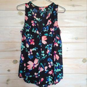 Black Floral Sleeveless Shirt/ Tank Top